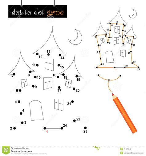 dot to dot haunted house stock photography image