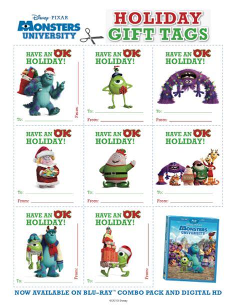 disney holiday gift tags monsters printable gift tags likes this