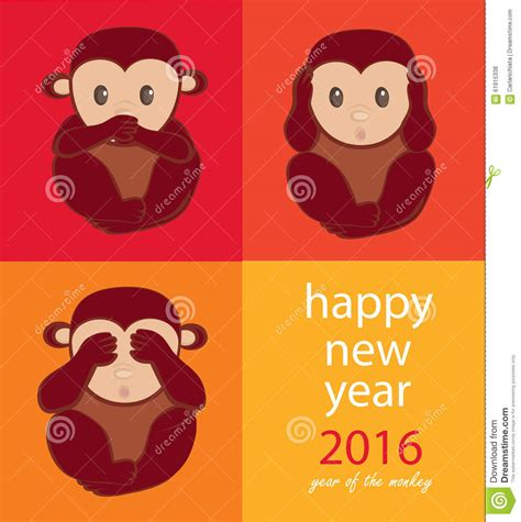 new year monkey free image monkey year stock vector image 61915338