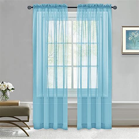 baby blue sheer curtains authentic nicetown window treatment sheer valances voile