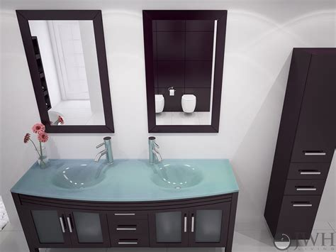 Glass Bathroom Vanity Tops Jwh Living 63 Quot Grand Regent Sink Vanity Glass Top