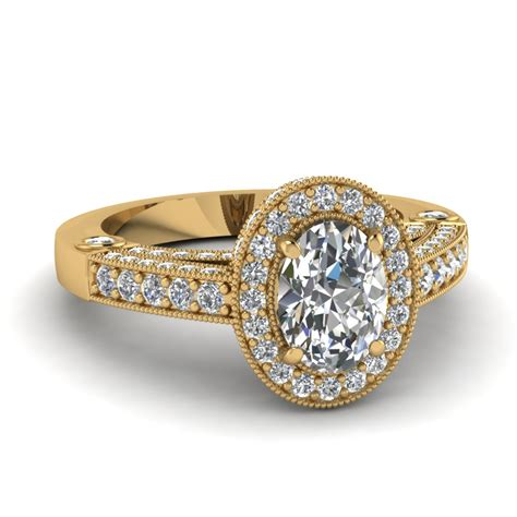yellow gold oval white engagement wedding ring in
