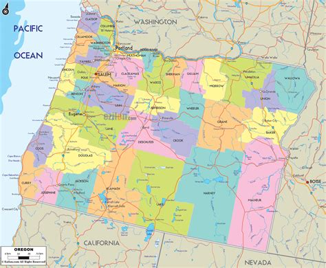map of oregon by county political map of oregon ezilon maps