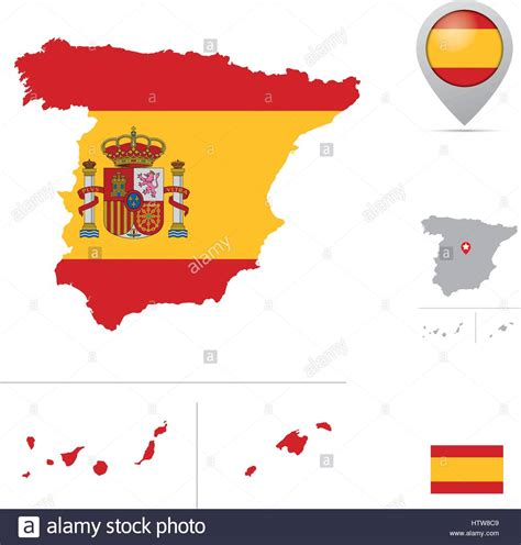 spain colors spain map in national flag colors flag marker and