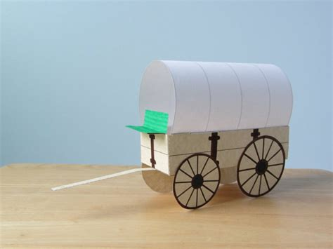 How To Make A Paper Wagon - 3d covered wagon instant template by fanfaron on