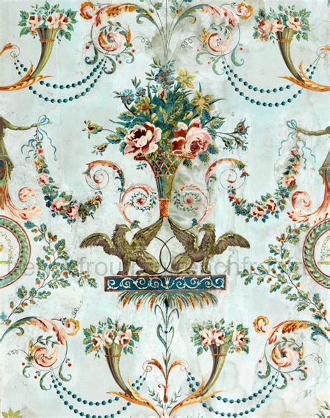 flower wallpaper etsy antique french wallpaper illustration griffin and pink roses
