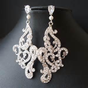 Bridal Chandelier Earrings Vintage Style Chandelier Bridal Earrings Statement By Luxedeluxe