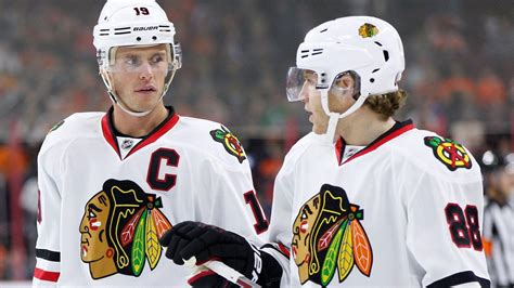 toews and kane fight on bench jonathan toews patrick kane reunion showing results so far