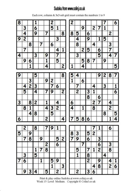 printable sudoku one per page related keywords suggestions for hard sudoku 4 per page