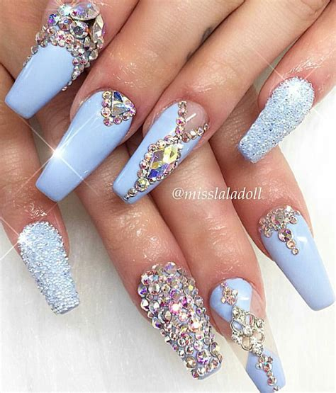Strass Ongles by Baby Blue Rhinestone Nails Http Amzn To 2sd0po8 Ongles