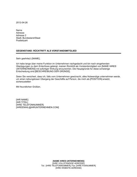 Lebenslauf Vorlage Vorstand r 252 cktrittsschreiben vorlage dokument blogs