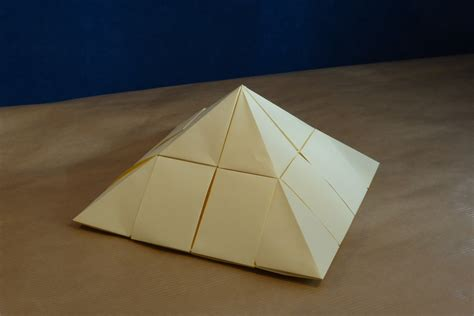 Origami Pyramid - modular origami architecture and landscape models folded