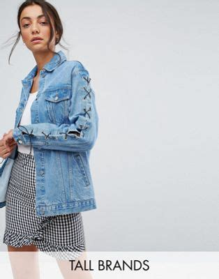 Lace Up Sleeve Denim Jacket chorus chorus lace up sleeves oversized denim
