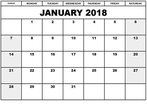 printable monthly calendar free january 2018 monthly calendar printable