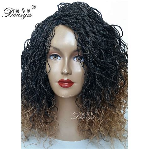 micro braided wigs cheap micro braiding hand made ombre lace front senegalese