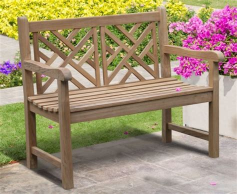 4ft garden bench princeton teak 4ft lattice garden bench lindsey teak