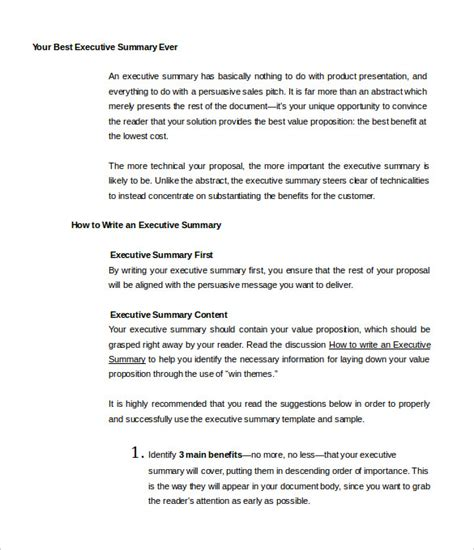 Exles Of Executive Summary Templates 31 executive summary templates free sle exle