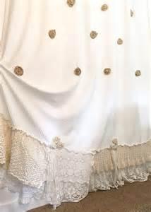White Burlap Curtains Burlap Ruffle Shower Curtain White Cotton With Crochet
