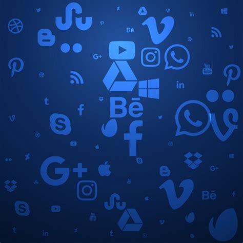 media background blue social media background vector free