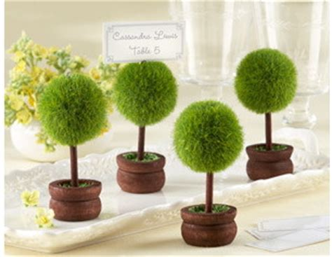 Bonsai Wedding Giveaways - romantic round shaped bonsai tree seat place card holder wedding table card clip