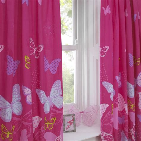 girls curtains ready made butterfly butterflies polka dot kids girls hot pink cotton