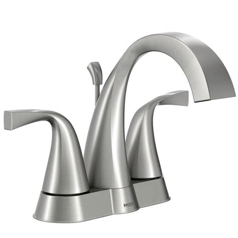 moen brushed nickel kitchen faucet shop moen oxby spot resist brushed nickel 2 handle 4 in