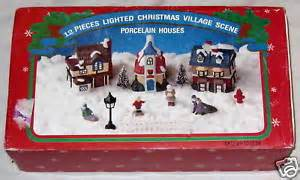 Details about ceramic lighted christmas village 12 piece scene