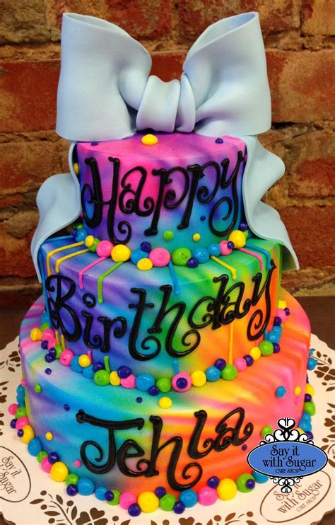 jojo siwa birthday cake ideas  pinterest  birthday cake tie dye cakes  neon