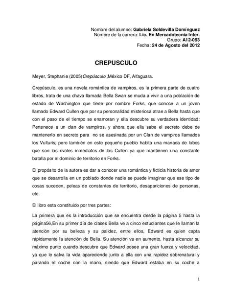 En Resumen by Resumen De Novela Crepusculo