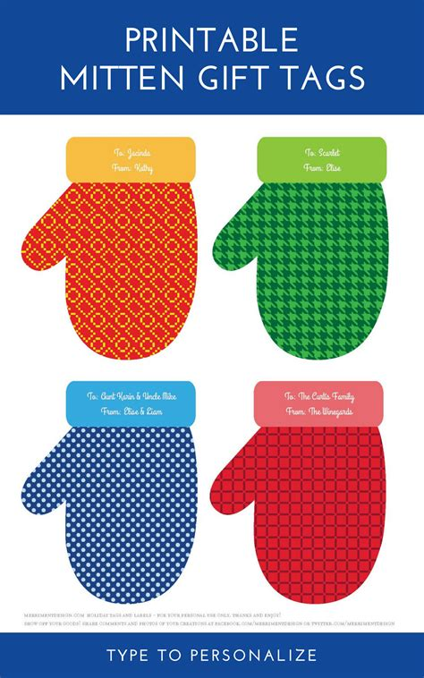 printable christmas tags you can type on printable mitten and snowflake tags and labels that you