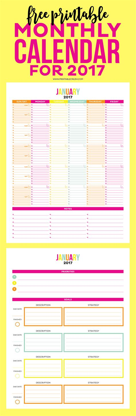 printable calendar goals 2017 printable monthly calendar and goal sheets