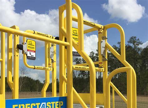 swing safety gate yellowgate safety swing gate mounted to erectastep metal