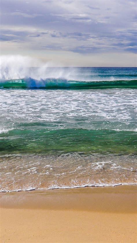 beach waves splashing iphone   hd wallpaper hd