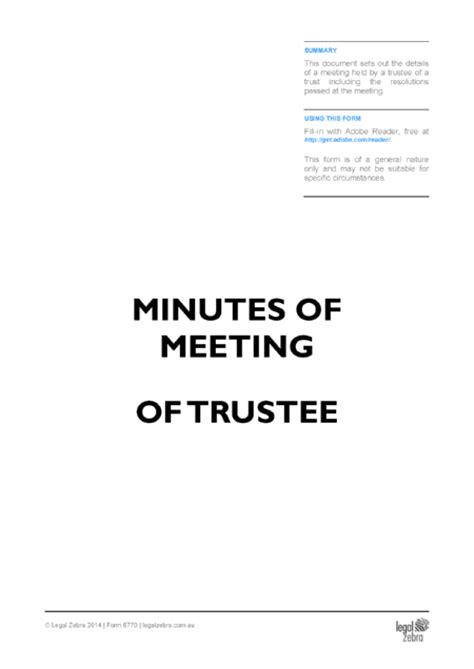 trustee resolution template minutes of meeting of trustees template free sle