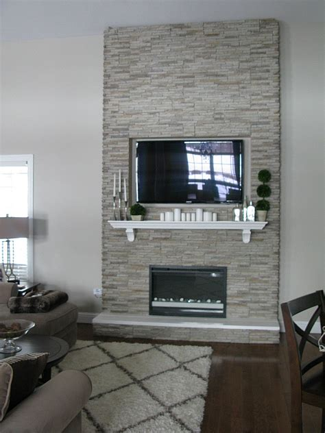 diy quot fireplace quot stones over wood frame electric inset
