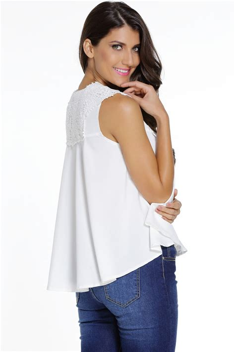 Embroidered V Neck Blouse cheap white embroidered applique v neck blouse top