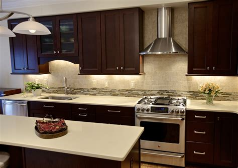 Cherry And White Kitchen Cabinets by Waypoint Cabinets With A Cherry Bordeaux Finish And