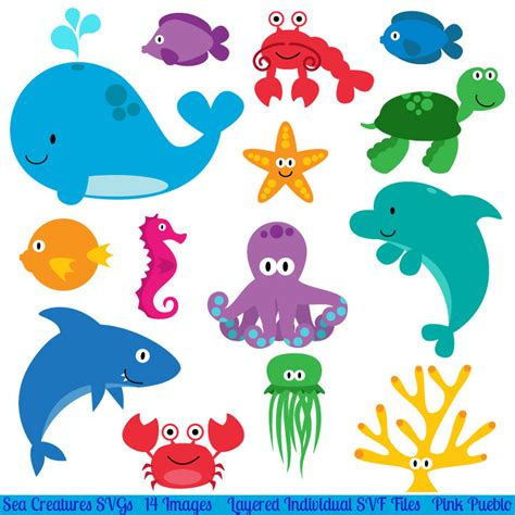 templates for under the sea creatures sea creatures svgs fish ocean animals cutting templates