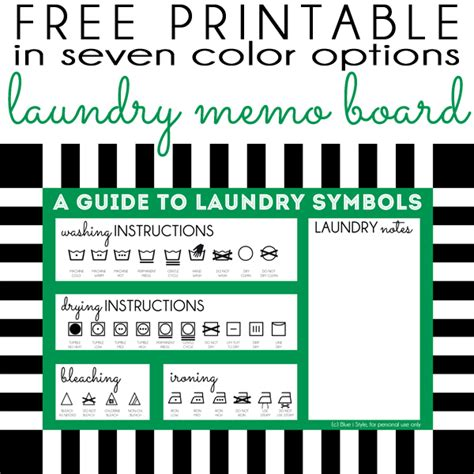 printable laundry directions organizing with style dry erase memo board free