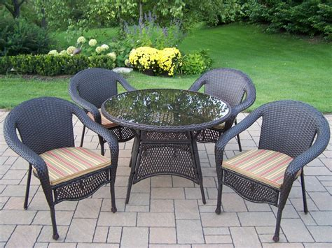 5 Pc Patio Dining Set Oakland Living Wicker 5 Pc Patio Dining Set W 42 Quot Tempered Glass Top Table And Cushioned