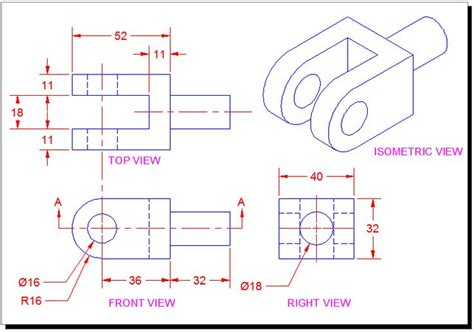 autocad tutorial orthographic orthographic projection drawing a two dimensional