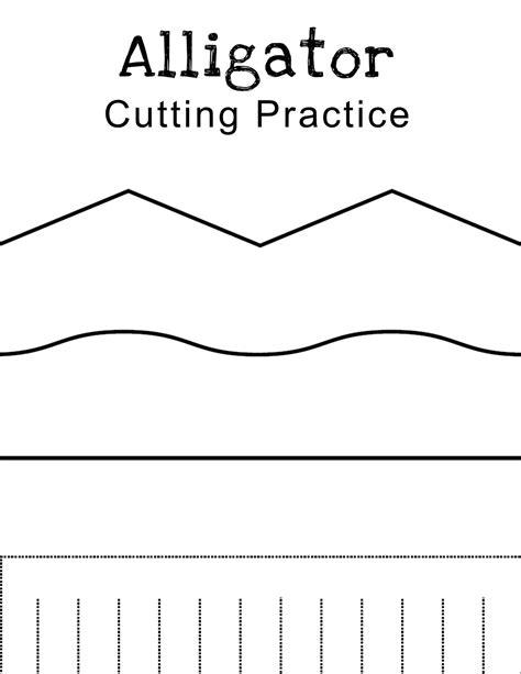 printable practice cutting sheets lawteedah letter a alligator