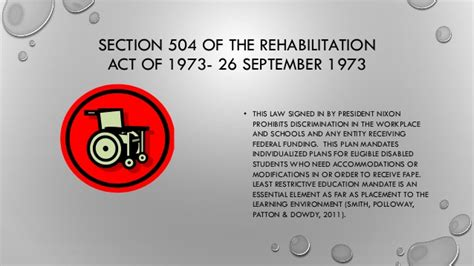 section 504 of the rehabilitation act of 1973 as amended history of special education