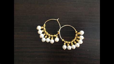 diy beaded hoop earrings diy gold beaded hoop earrings using pearls ii diy earrings