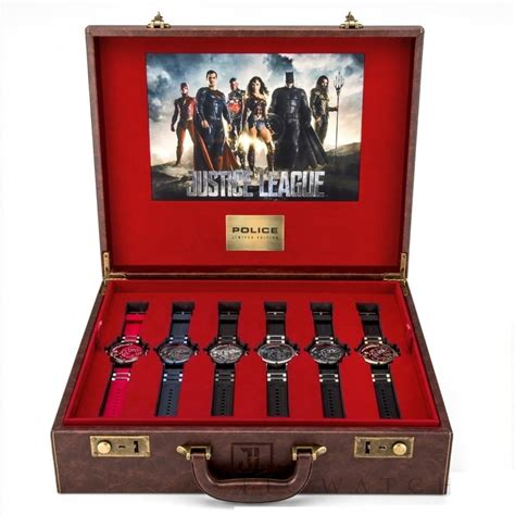 police justice league heroes box gents watch gift set