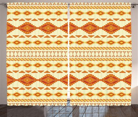 Aztec Print Curtains Aztec Pattern Vintage Colors Ethnic Mexican Culture Print Curtain 2 Panels Set Ebay