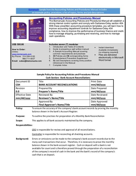 Bizmanualz Accounting Policies And Procedures Sle Accounting Policy Manual Template