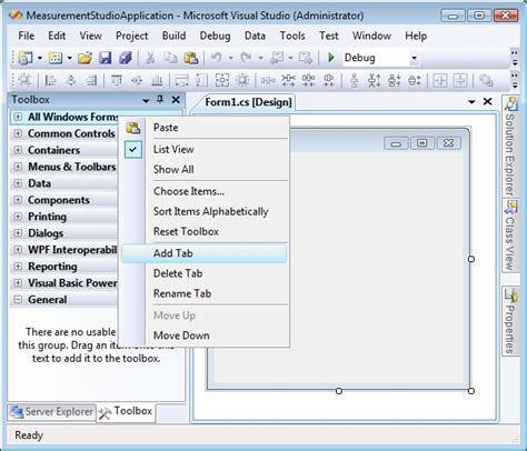 layout menu in visual studio 2008 archived using measurement studio 8 1 2 and prior in