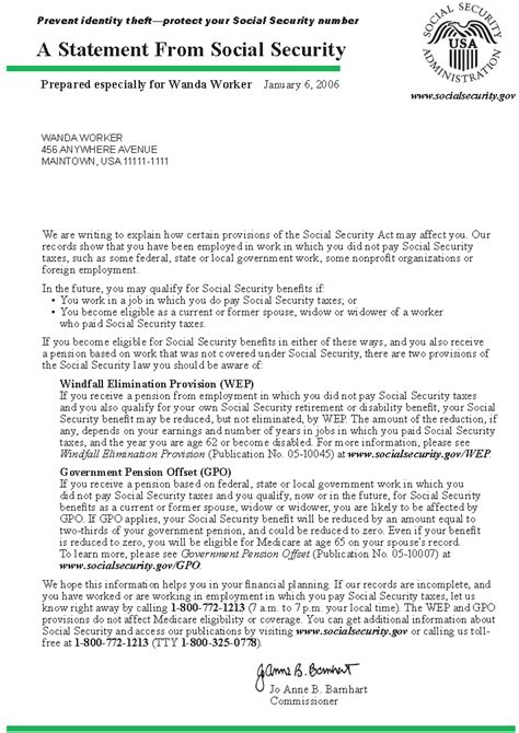 Social Security Award Letter In Ssa Poms Rm 01310 010 Information Contained In The Social Security Statement 04 01 2013