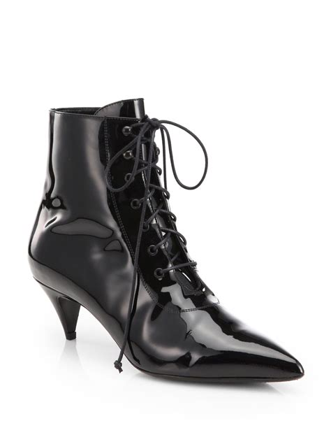 Patent Leather by Lyst Laurent Cat Patent Leather Laceup Ankle Boots